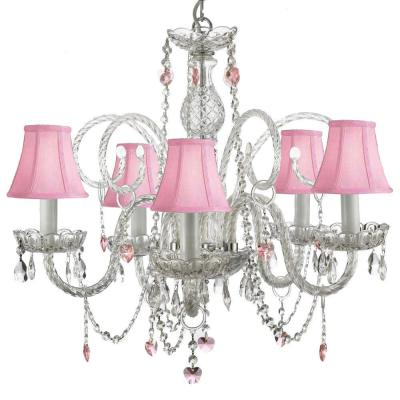 Fashionable Empress Crystal 5 Light Chandelier T40 115 – The Home Depot Within Verdell 5 Light Crystal Chandeliers (View 9 of 25)