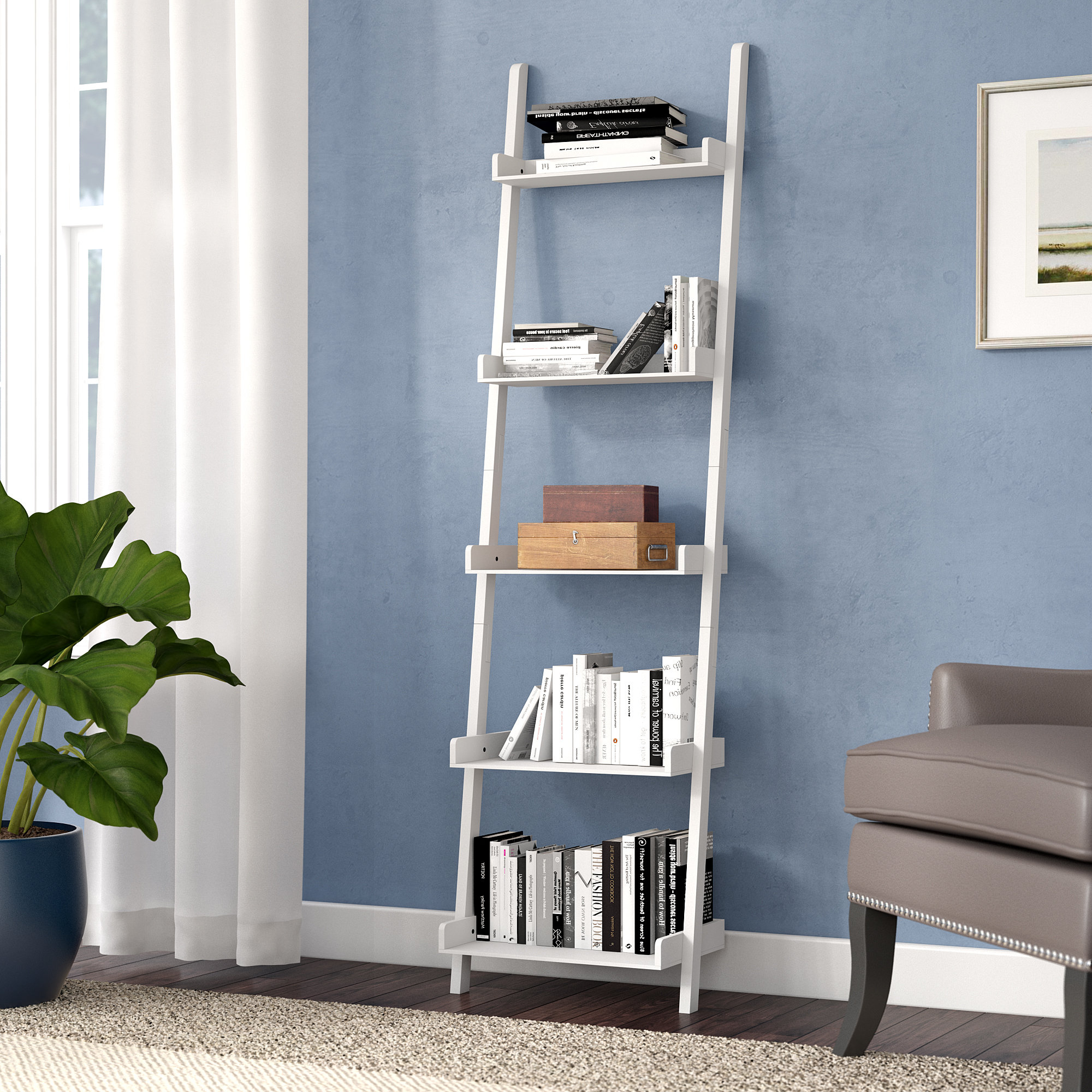 Fashionable Gilliard Ladder Bookcases Pertaining To Saniyah Ladder Bookcase (View 15 of 20)
