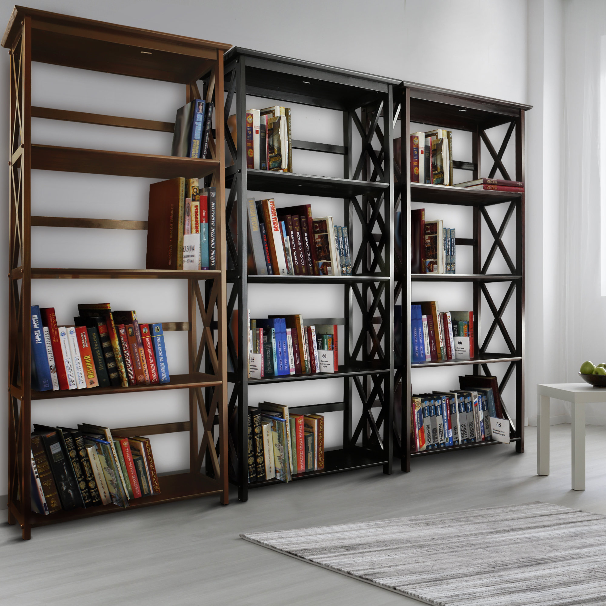 Fashionable Gracelynn 5 Tier Etagere Bookcases In Hitz Etagere Bookcase (View 3 of 20)