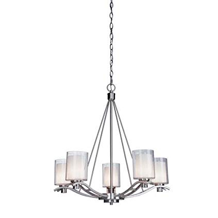 Fashionable Hayden 5 Light Shaded Chandeliers For Artcraft Lighting Andover 5 Light Chandelier, Polished Nickel (View 6 of 25)