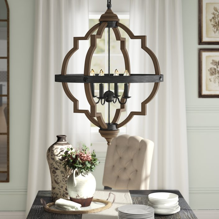 Fashionable Kaycee 4 Light Geometric Chandeliers For Bennington 4 Light Candle Style Chandelier (View 5 of 25)