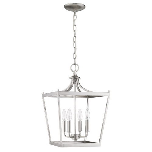 Fashionable Kenedy 9 Light Candle Style Chandeliers Within Acclaim Lighting Kennedy Satin Nickel Four Light Chandelier (View 7 of 25)