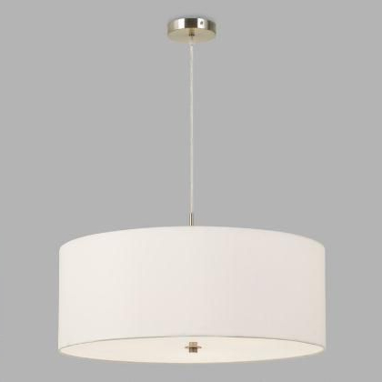 Fashionable Large White Fabric Drum 3 Light Billie Pendant Lampworld Intended For Montes 3 Light Drum Chandeliers (View 8 of 25)