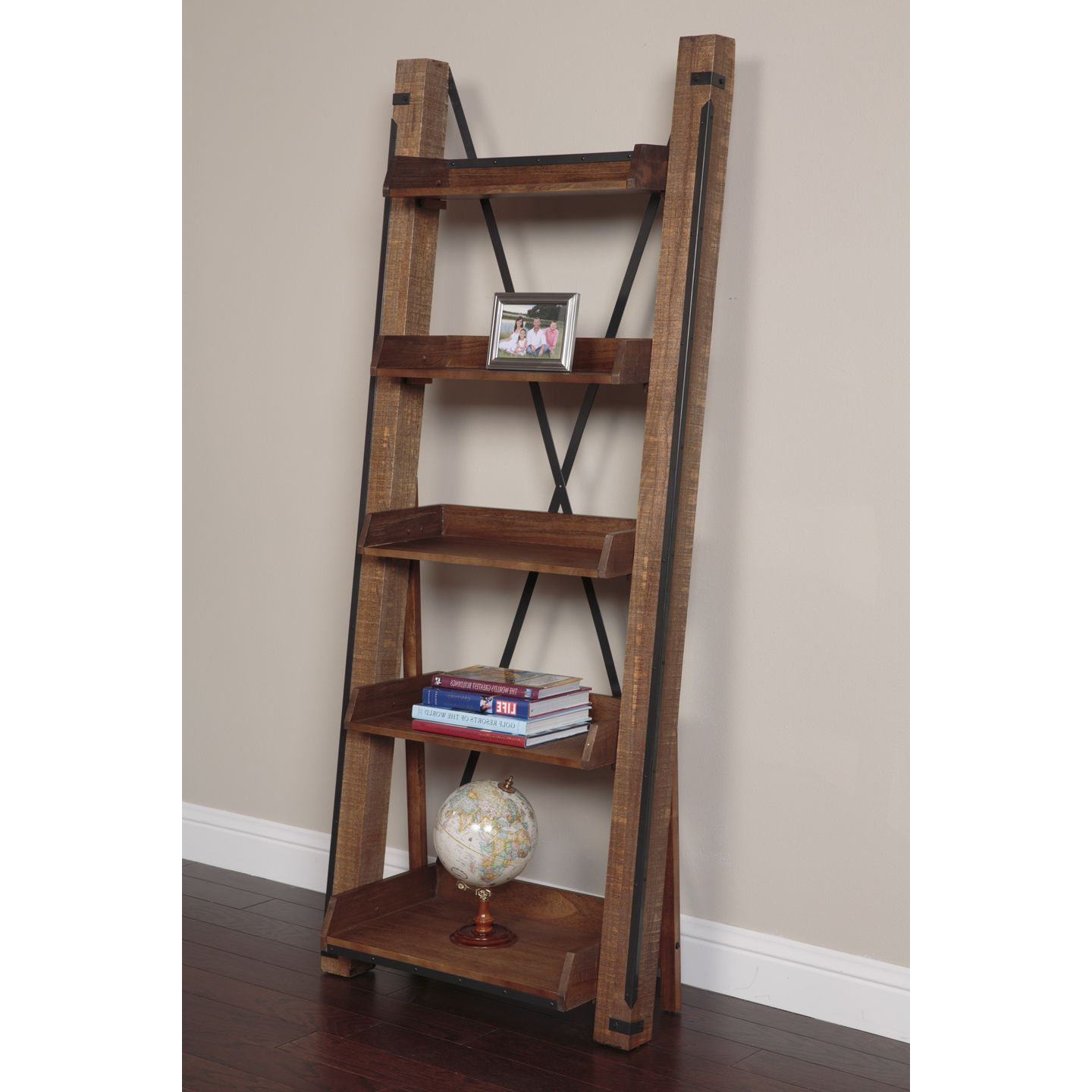 Fashionable Leandra Ladder Bookcases In Carbon Loft Edwina Industrial Open Shelf Ladder Bookcase (View 5 of 20)