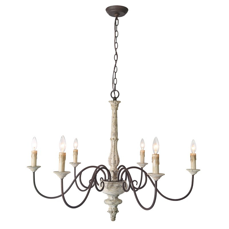 Fashionable Leib Elegance French Country 6 Light Candle Style Chandelier Inside Gaines 9 Light Candle Style Chandeliers (View 4 of 25)