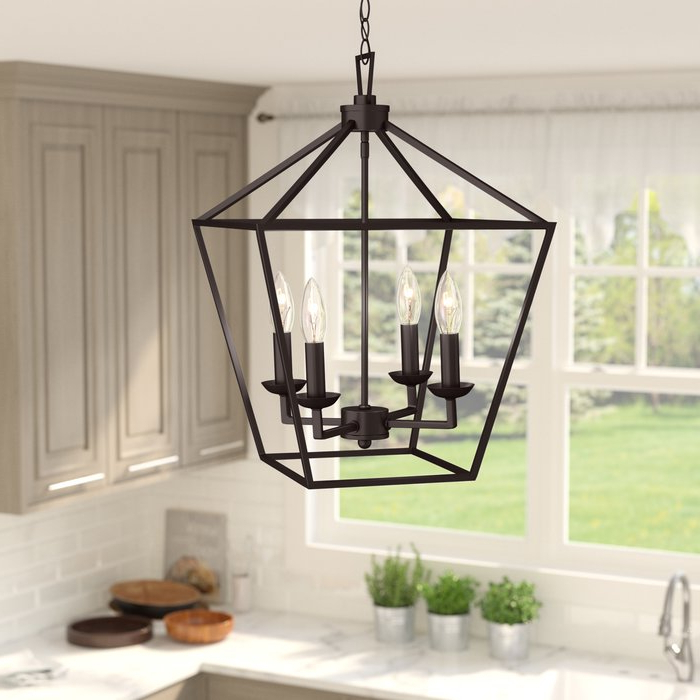 Fashionable Louanne 3 Light Lantern Geometric Pendants Regarding Carmen 4 Light Lantern Geometric Pendant (View 10 of 25)