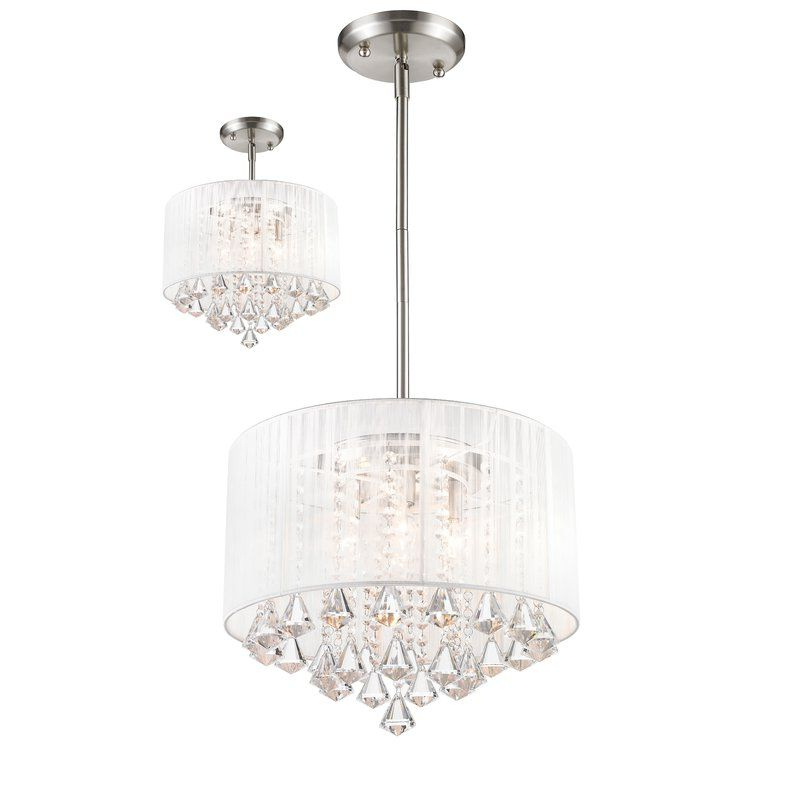 Fashionable Mckamey 4 Light Crystal Chandeliers With Regard To Kent 4 Light Drum Chandelier In (View 21 of 25)
