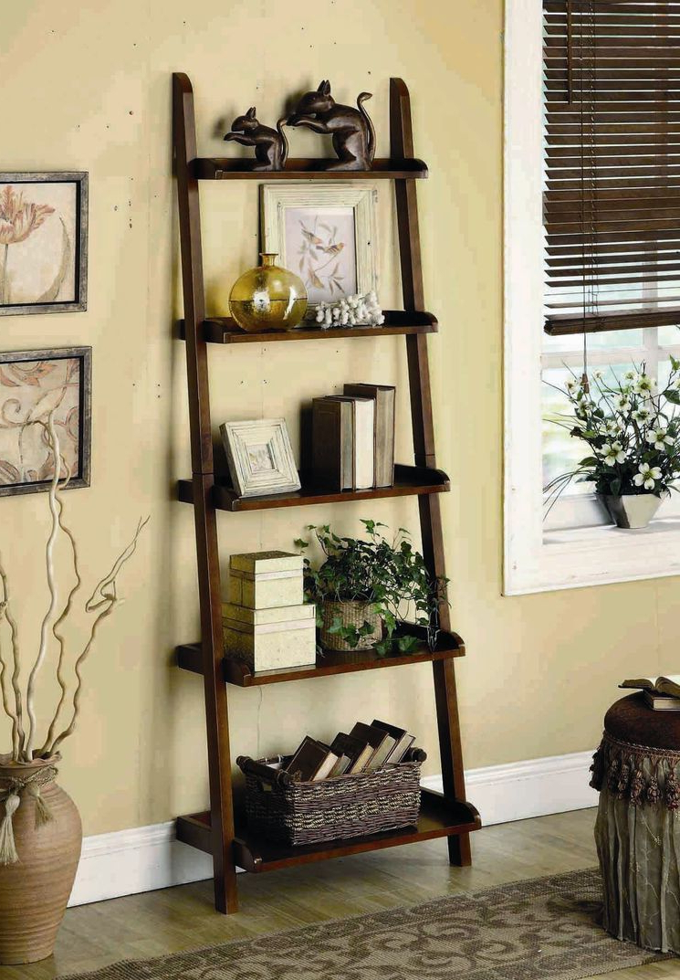 Fashionable Moskowitz Ladder Bookcases In 5 Tier Leaning Shelf (View 5 of 20)