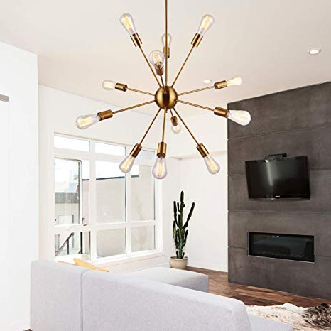 Fashionable Sputnik Chandeliers 12 Lights Vintage Brass Pendant Lighting, Ul Listed For Asher 12 Light Sputnik Chandeliers (View 9 of 25)
