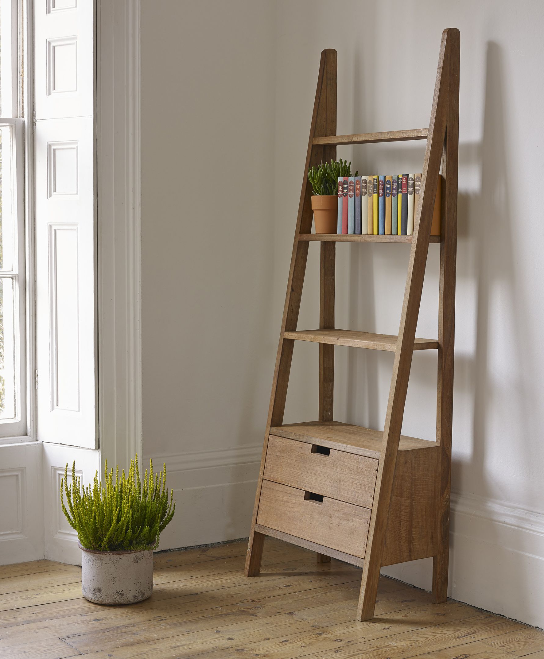Fashionable Sumatra Teak Ladder Bookcase With Drawers (View 8 of 20)