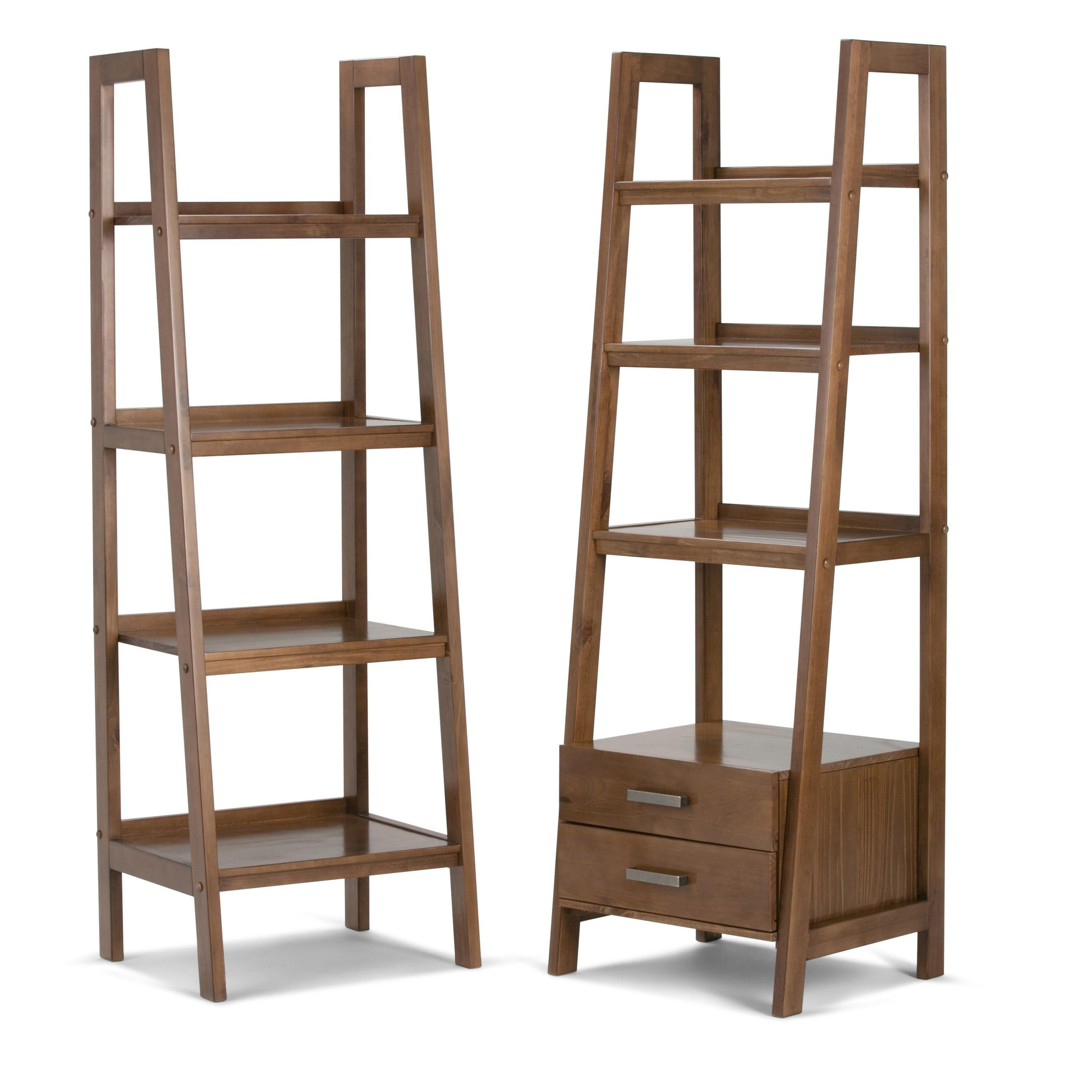 Favorite Amazon: Simpli Home Sawhorse Solid Wood Ladder Shelf Intended For Bordelon Slatted Ladder Bookcases (View 10 of 20)
