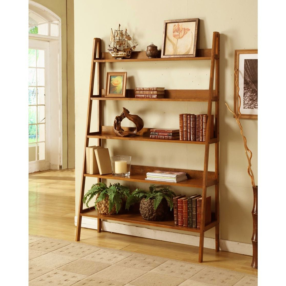 Favorite Brock Ladder Bookcases Within Contemporary Mahogany Leaning Ladder 5 Tier Bookcase (View 11 of 20)