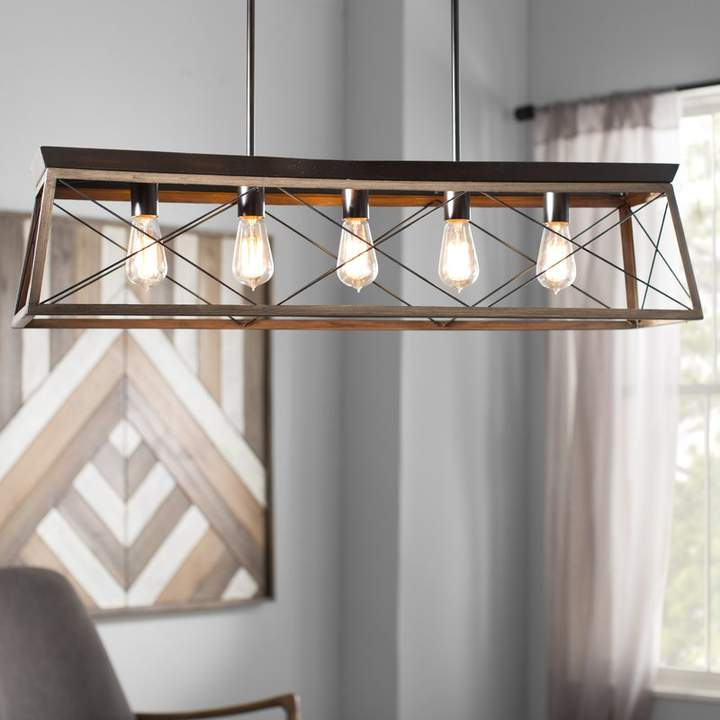 Favorite Delon 1 Light Lantern Geometric Pendants For Foundry Modern Farmhouse Delon 5 Light Kitchen Island Pendant (View 15 of 25)