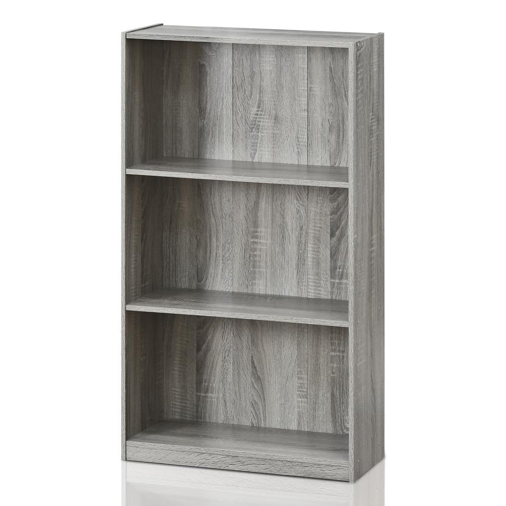 Favorite Furinno Basic 3 Shelf French Oak Grey Open Bookcase 99736Gyw Within Zack Standard Bookcases (View 7 of 20)