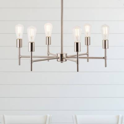 Favorite Orren Ellis Cushing Adjustable Height Metal 6 Light Sputnik With Regard To Sherri 6 Light Chandeliers (View 11 of 25)