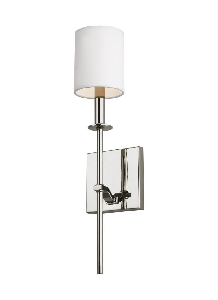 Favorite Sea Gull Lighting Wb1873Pn Hewitt 1 Light Wall Sconce In Polished Nickel  With Square White Paper Shade Inside Hewitt 4 Light Square Chandeliers (View 3 of 25)