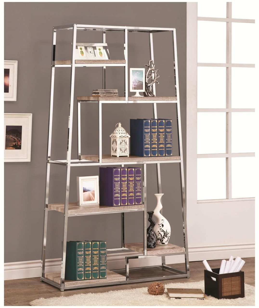Favorite Staple Hill Bookcases Throughout Denza Contemporary Chrome Bookshelf (View 5 of 20)