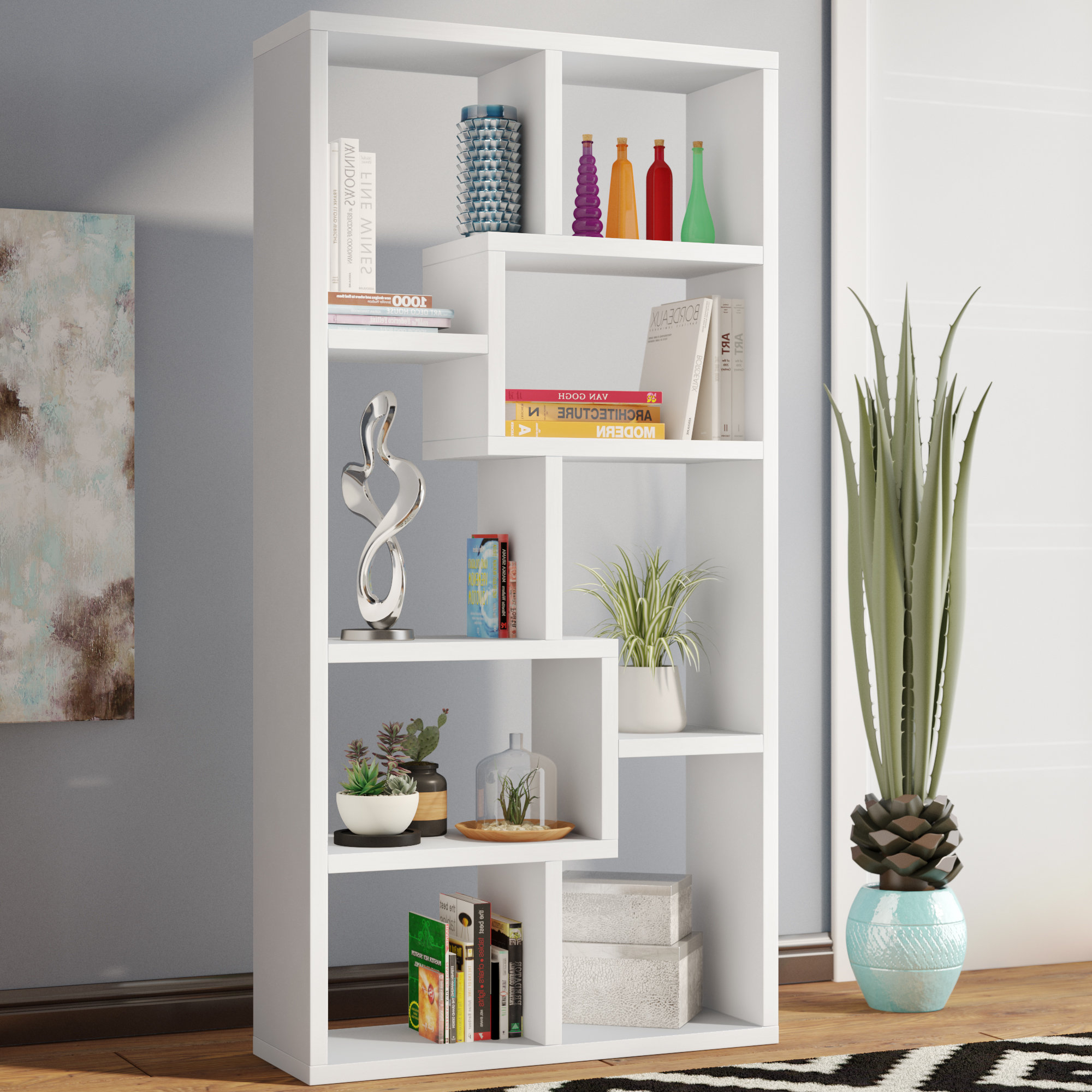 Favorite Wrought Studio Skaggs Geometric Bookcase Pertaining To Chantilly Geometric Bookcases (View 11 of 20)