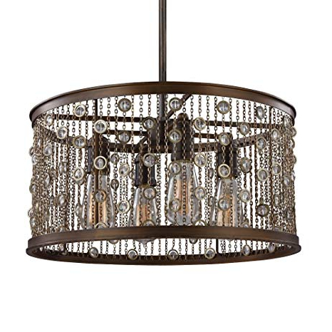 Feiss F3045/4Cstb, Colorado Springs Drum Pendant, 4 Light, 300 Total Watts,  Chestnut Bronze Regarding Most Current Dailey 4 Light Drum Chandeliers (View 13 of 25)