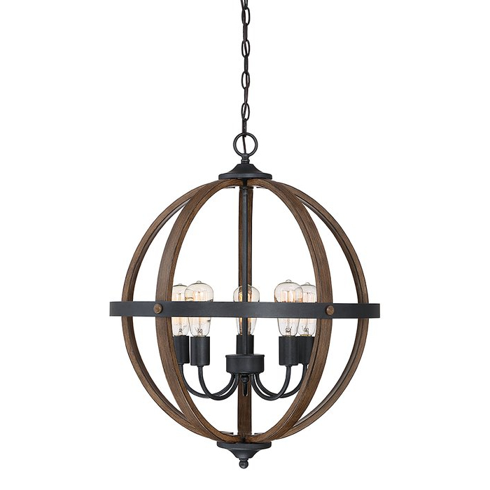 Filipe Globe Chandeliers Intended For Fashionable Makeba 5 Light Globe Chandelier (View 9 of 25)