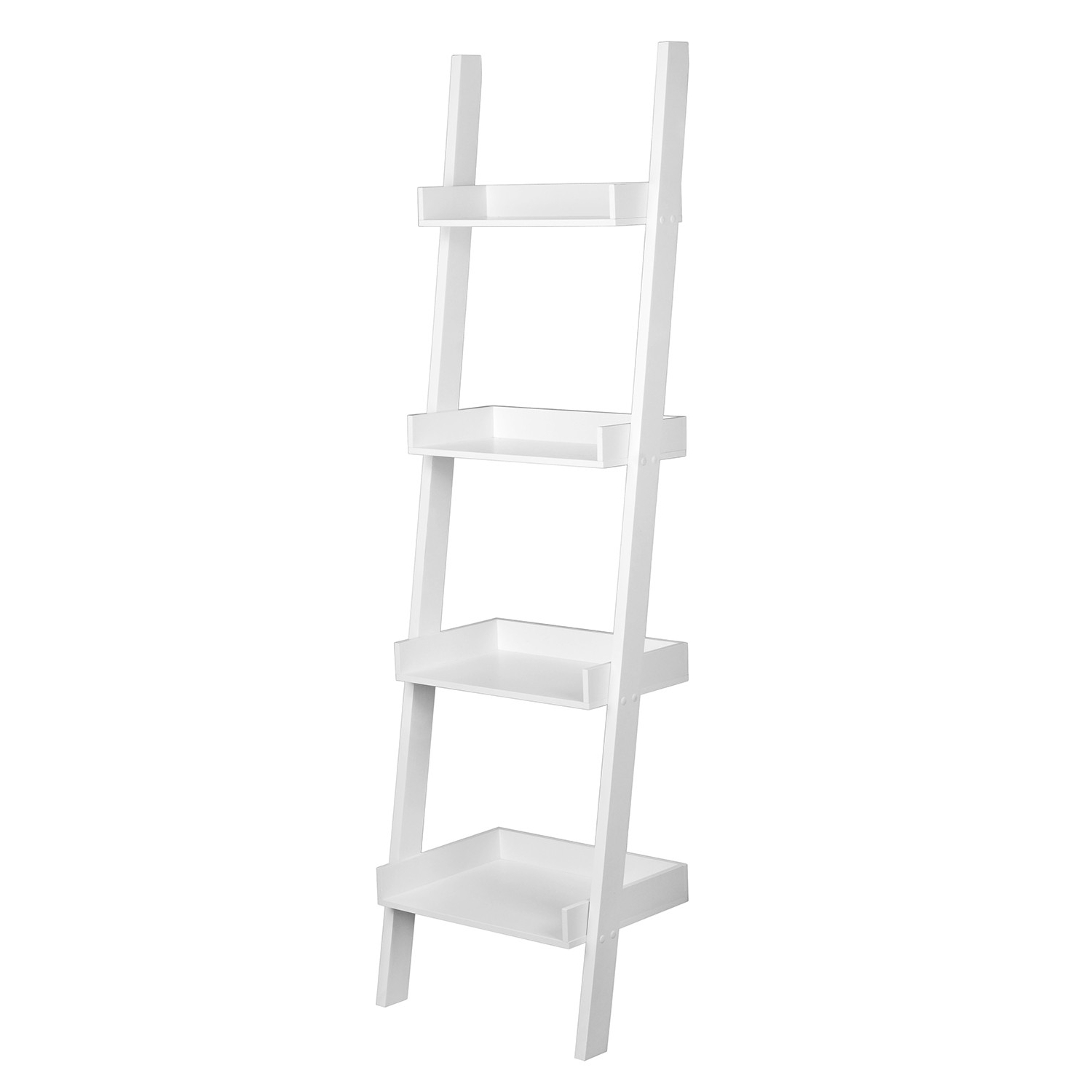 Four Tier White Ladder Bookcase Shelf Intended For Fashionable Narrow Ladder Bookcases (View 6 of 20)