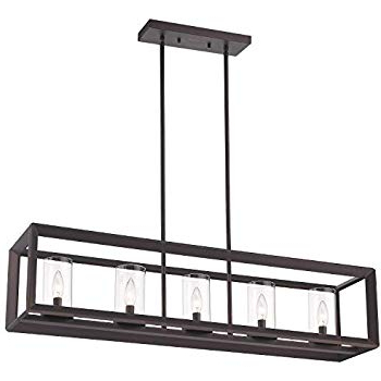 Freemont 5 Light Kitchen Island Linear Chandeliers Intended For Preferred Emliviar 5 Light Kitchen Island Lighting, Modern Domestic Linear Pendant Light Fixture, Oil Rubbed Bronze Finish With Clear Glass Shade, 2074lp Orb (View 23 of 25)