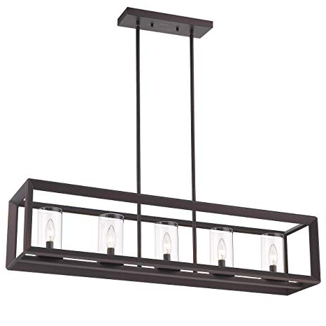 Freemont 5 Light Kitchen Island Linear Chandeliers With Current Emliviar 5 Light Kitchen Island Lighting, Modern Domestic Linear Pendant Light Fixture, Oil Rubbed Bronze Finish With Clear Glass Shade, 2074lp Orb (View 10 of 25)