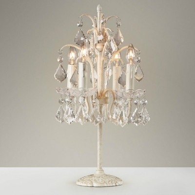 French Table Lamp 4 Light Crystal Chandelier Table Lamp Girls Bedroom With Most Recent Von 4 Light Crystal Chandeliers (View 11 of 25)