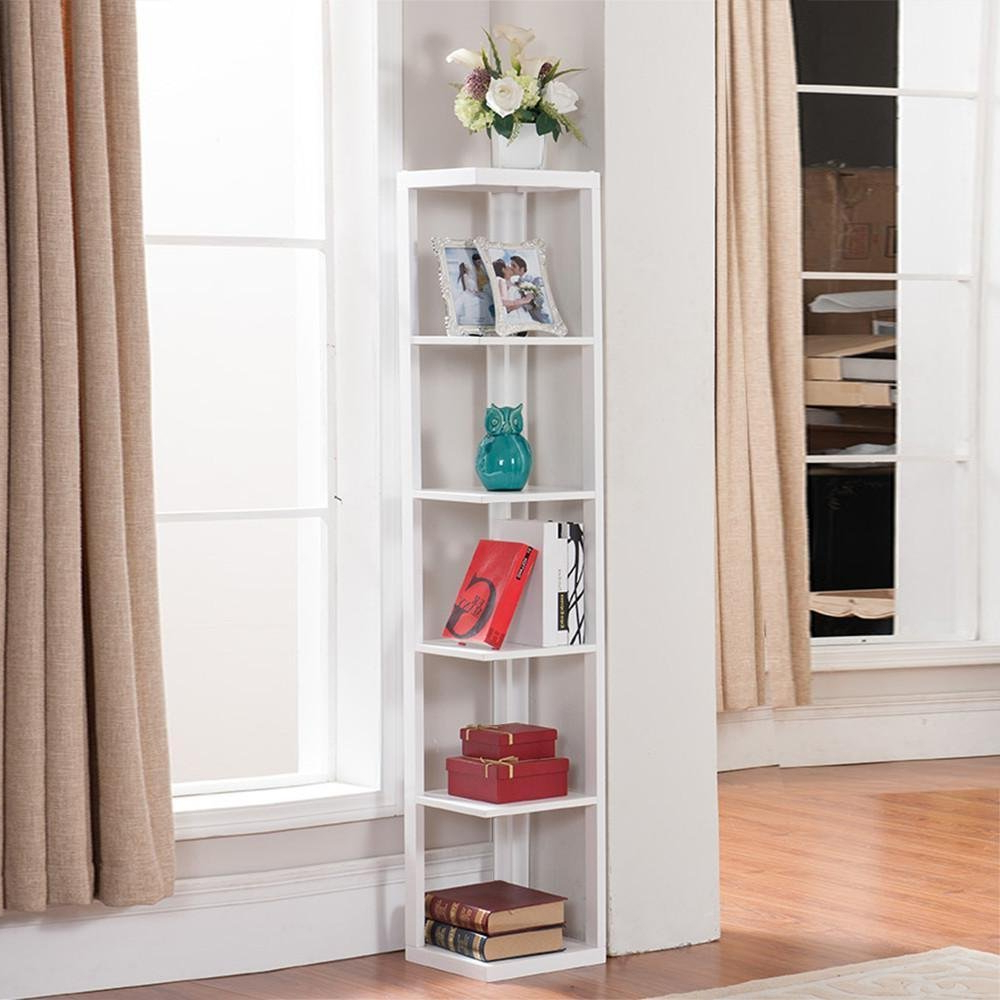 Fuhrmann Corner Bookcases Intended For Preferred 53 Living Room Corner Shelf, Ladder Shelf Decorating Ideas (View 7 of 20)
