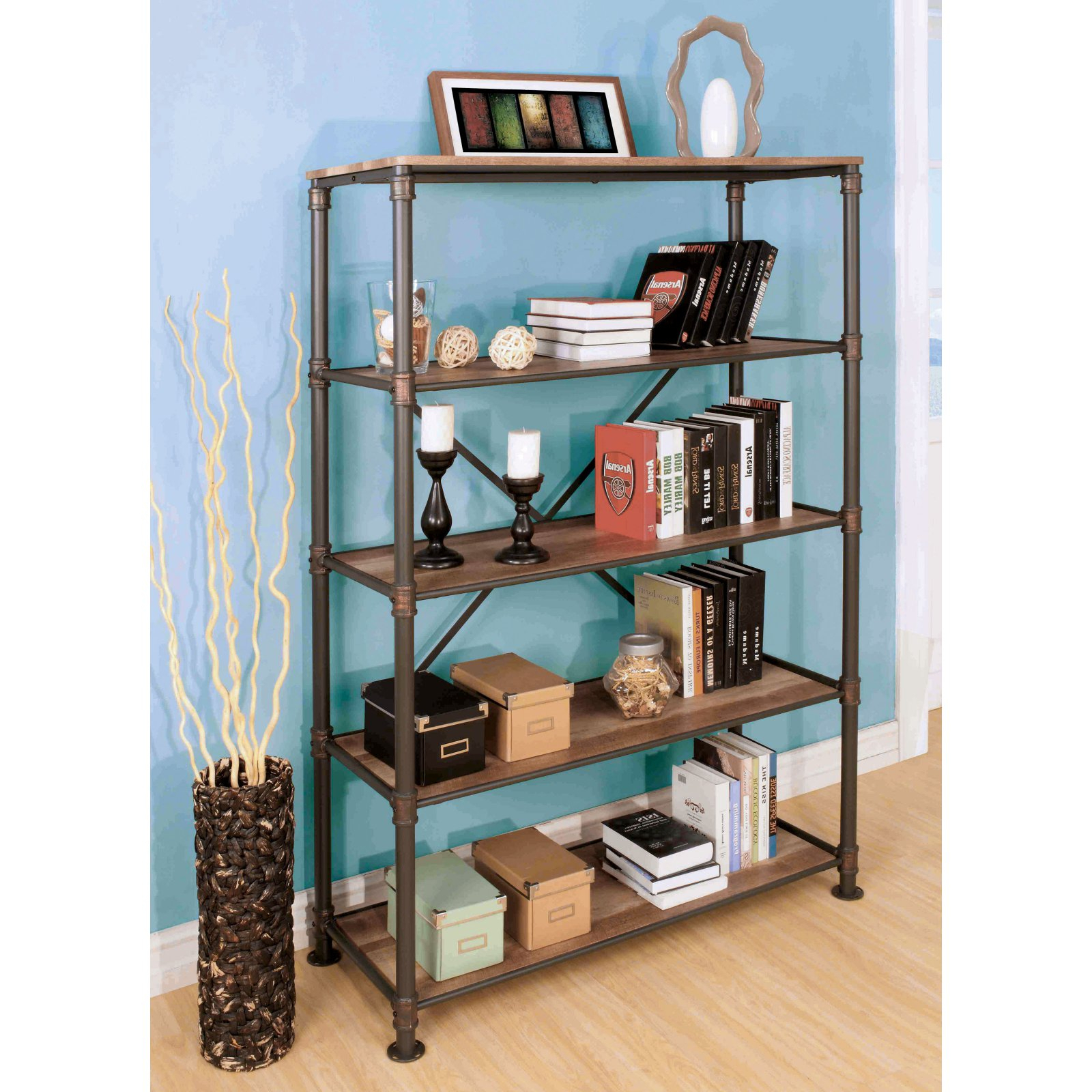 Furniture Of America Akayla Industrial Open Back Book Shelf For Well Known Gracelynn 5 Tier Etagere Bookcases (View 18 of 20)