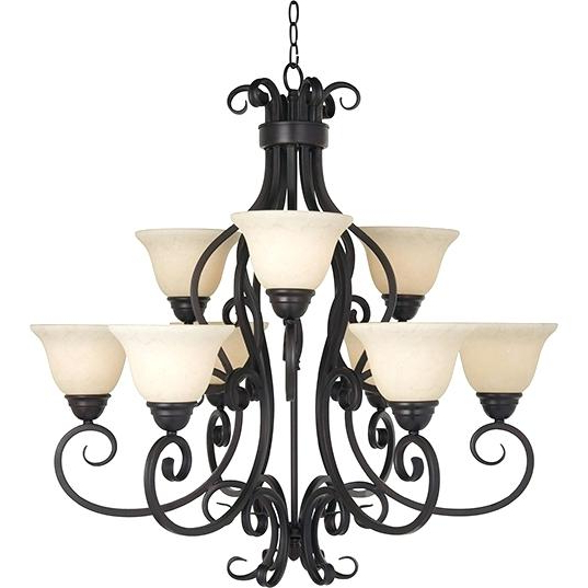 Giverny 9 Light Candle Style Chandeliers For Well Known 9 Light Chandelier Ensemble 9 Light Chandelier In Brushed (View 24 of 25)