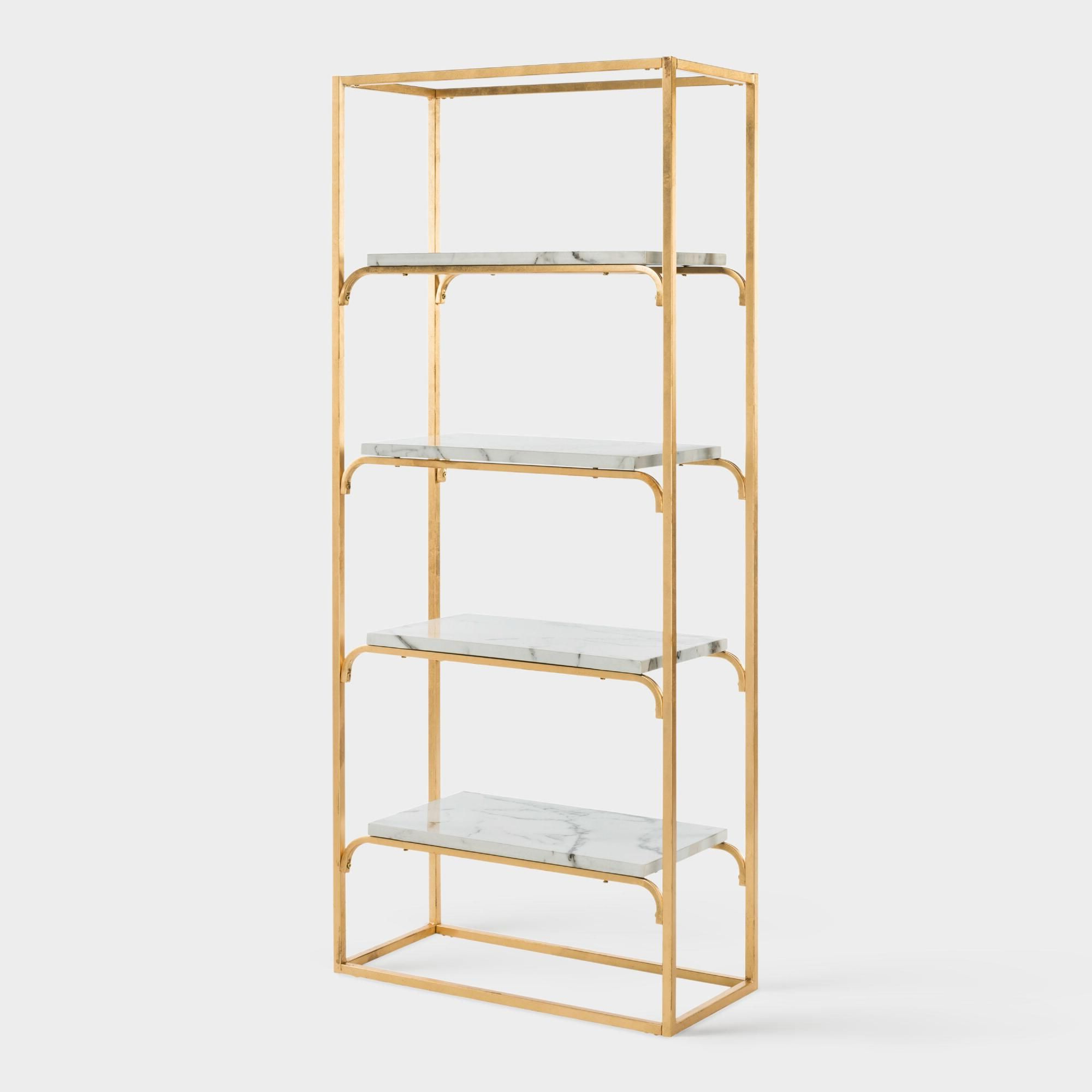 Gladstone Etagere Bookcases Inside Most Recent Gold And Marble Marleau Etagere Shelfworld Market (View 11 of 20)