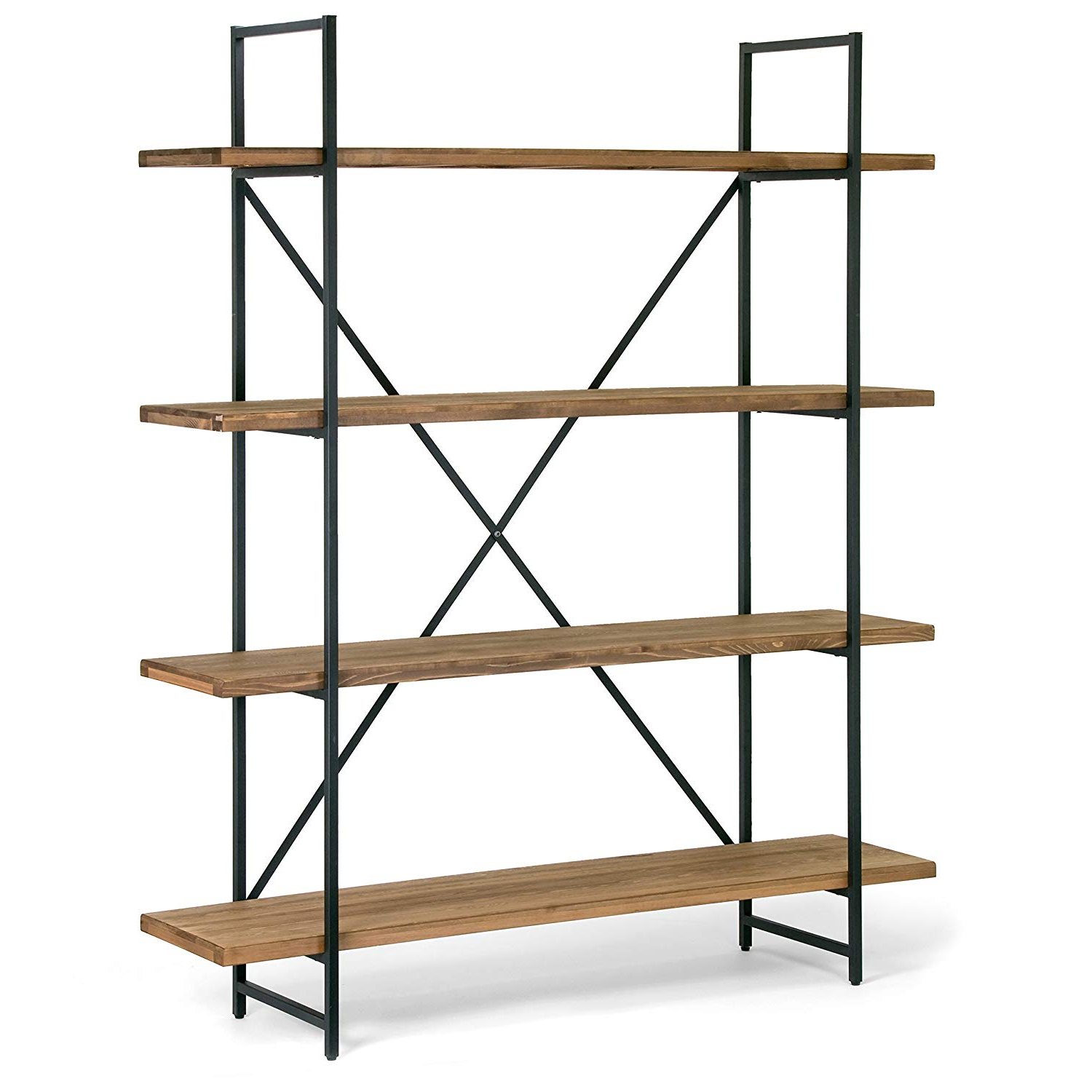 "Glamour Home Ailis 75"" Brown Pine Wood Metal Frame Etagere Bookcase Four Shelf Media Center Inside Latest Zona Etagere Cube Bookcases (View 13 of 20)"