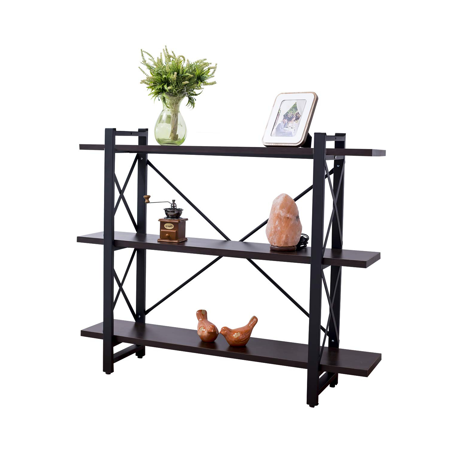 Grace Tech 3 Tier Industrial Bookshelf Etagere Bookcase Wood And Metal Book Shelves Furniture, Retro Rustic Home Office Storage Rack 3 Shelf Brown Inside Trendy Whidden Etagere Bookcases (View 12 of 20)