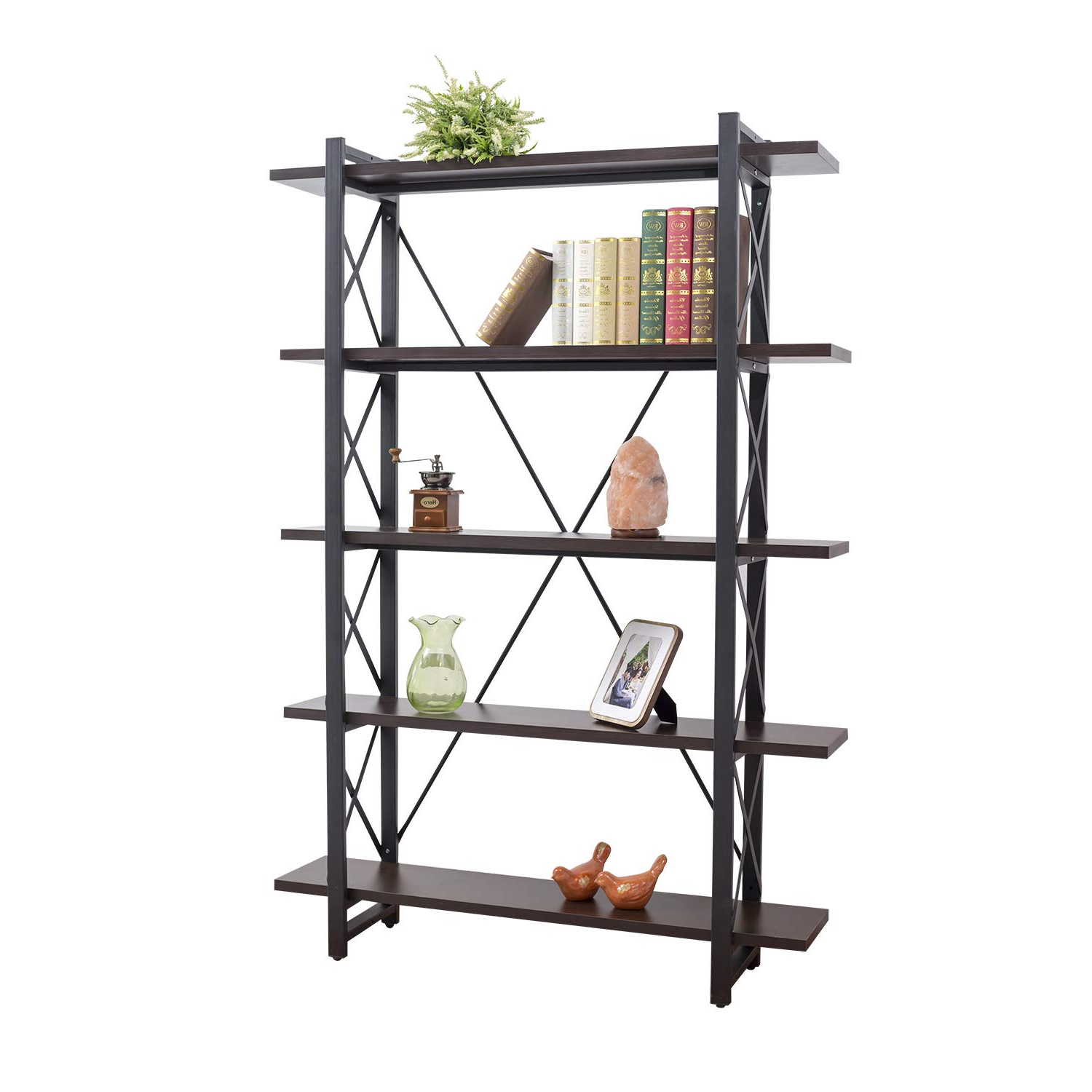 Grace Tech 5 Tier Industrial Bookshelf Etagere Bookcase Wood And Metal Book Shelves Furniture, Retro Rustic Home Office Storage Rack, 5 Shelf Inside Most Recent Whidden Etagere Bookcases (View 4 of 20)