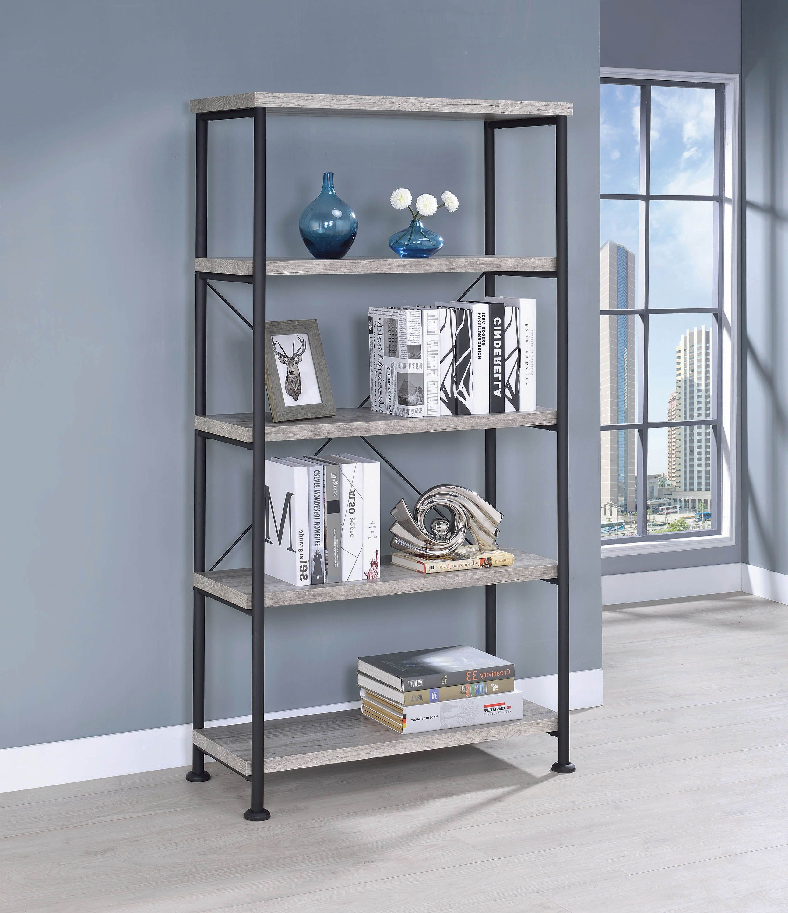 Guthrie Industrial Grey Driftwood Bookcase – Coaster Fine Inside Fashionable Daria Standard Bookcases (View 14 of 20)