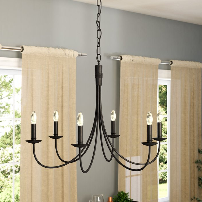 Hamza 6 Light Candle Style Chandeliers In Newest Souders 6 Light Candle Style Chandelier (View 10 of 25)