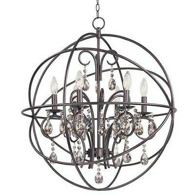 Hanging 5 Lights Chandelier Globe Orb Fixture Rustic Round Inside Widely Used Alden 6 Light Globe Chandeliers (View 18 of 25)