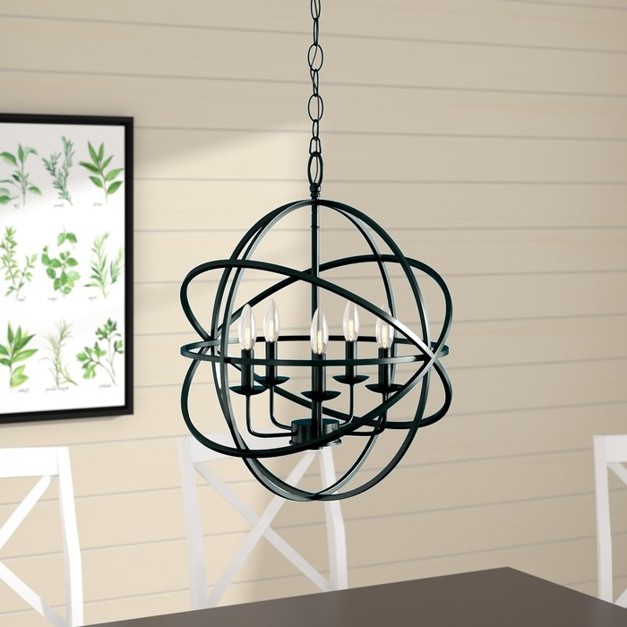 Hankinson 5 Light Globe Chandelier Pertaining To Best And Newest Verlene Foyer 5 Light Globe Chandeliers (View 12 of 25)