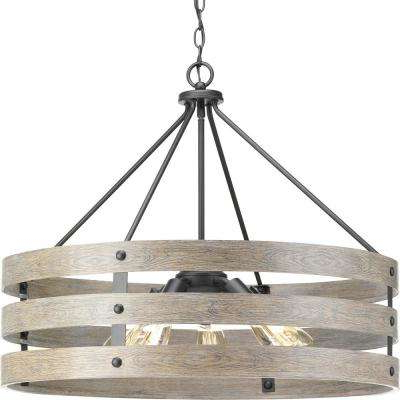 Harlan 5 Light Drum Chandeliers With Regard To 2018 Gulliver 5 Light Graphite Drum Pendant With Weathered Gray Wood Accents (View 13 of 25)