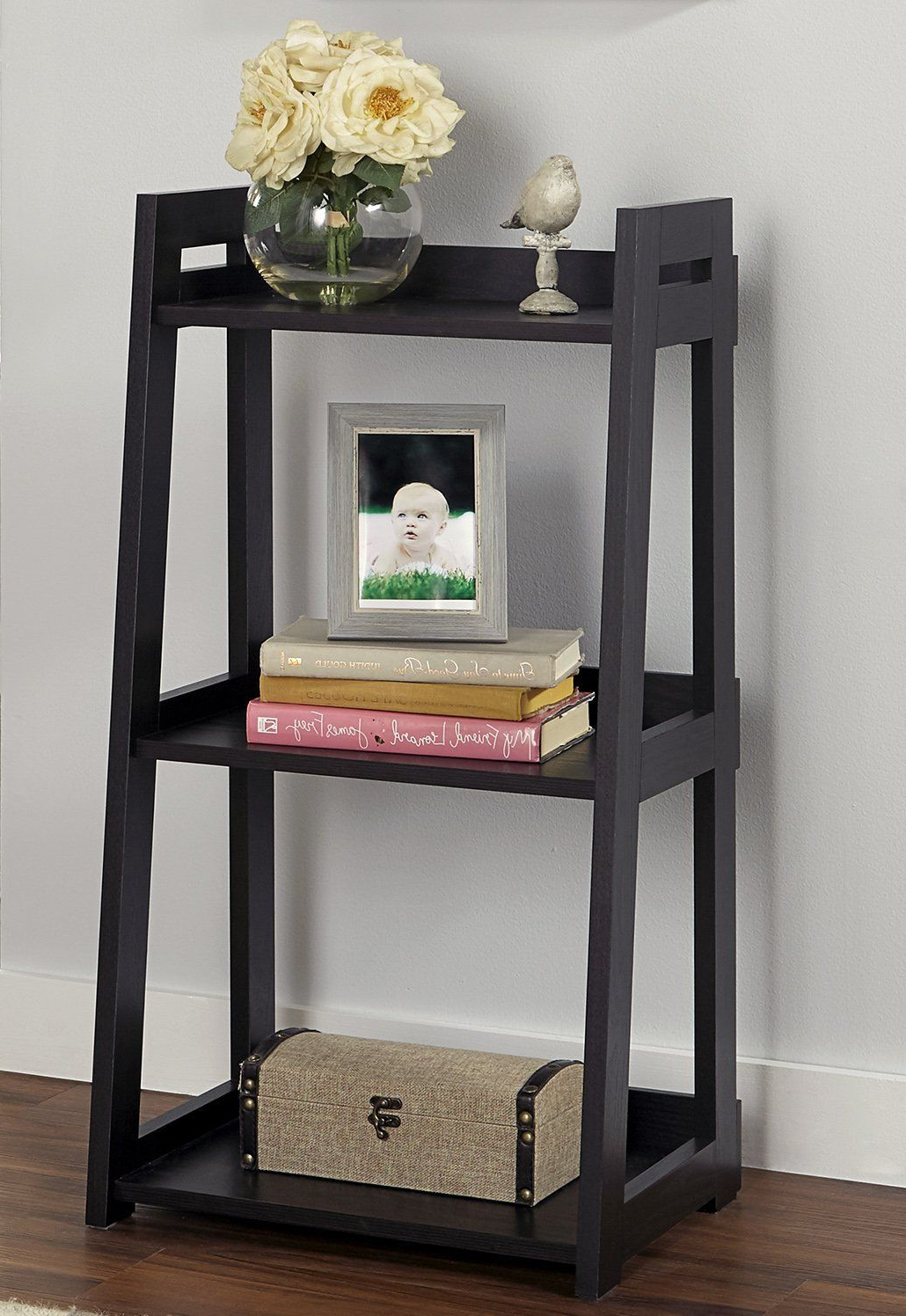 Herrin 2 Tier Standard Bookcases Inside Widely Used Add Style To Your Study Or Home Office With A No Tool Ladder (View 8 of 20)