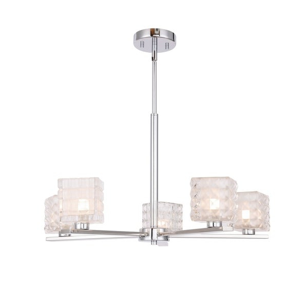 Hewitt 4 Light Square Chandeliers Regarding Most Popular Shop Woodbridge 17315Chrle Claudia 5L Chandelier W/ Led – On (View 11 of 25)