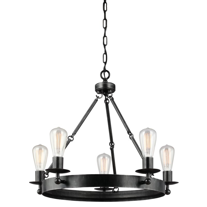 Hines 5 Light Wagon Wheel Chandelier With Best And Newest Janette 5 Light Wagon Wheel Chandeliers (View 19 of 25)