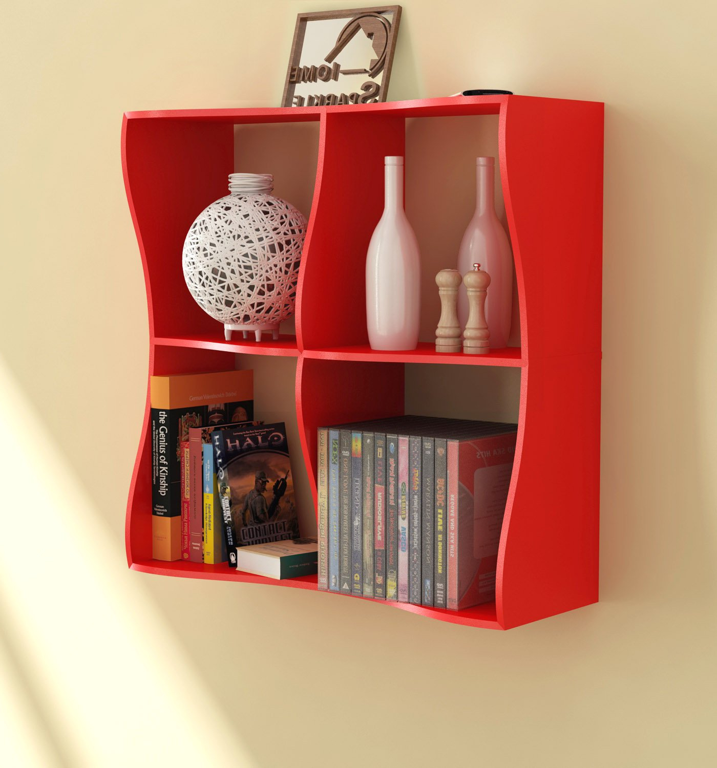 Home Sparkle Wooden Wave Book Shelf (black) With Regard To Widely Used Maryln Standard Bookcases (View 8 of 20)