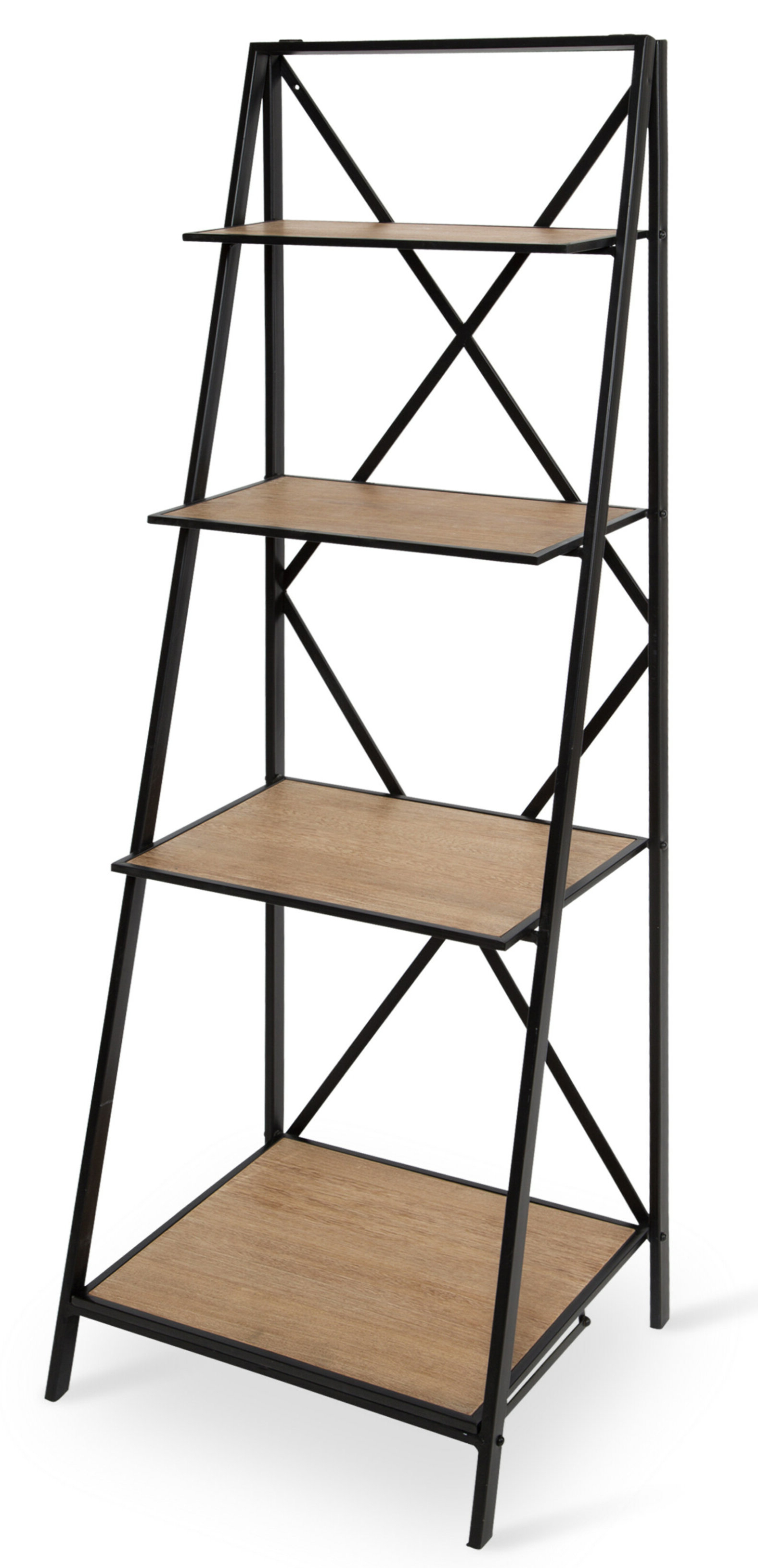 Ironton Farmhouse 4 Tiered Foldable Free Standing Wood And Metal Etagere  Bookcase Inside Most Up To Date Rech 4 Tier Etagere Bookcases (Gallery 11 of 20)
