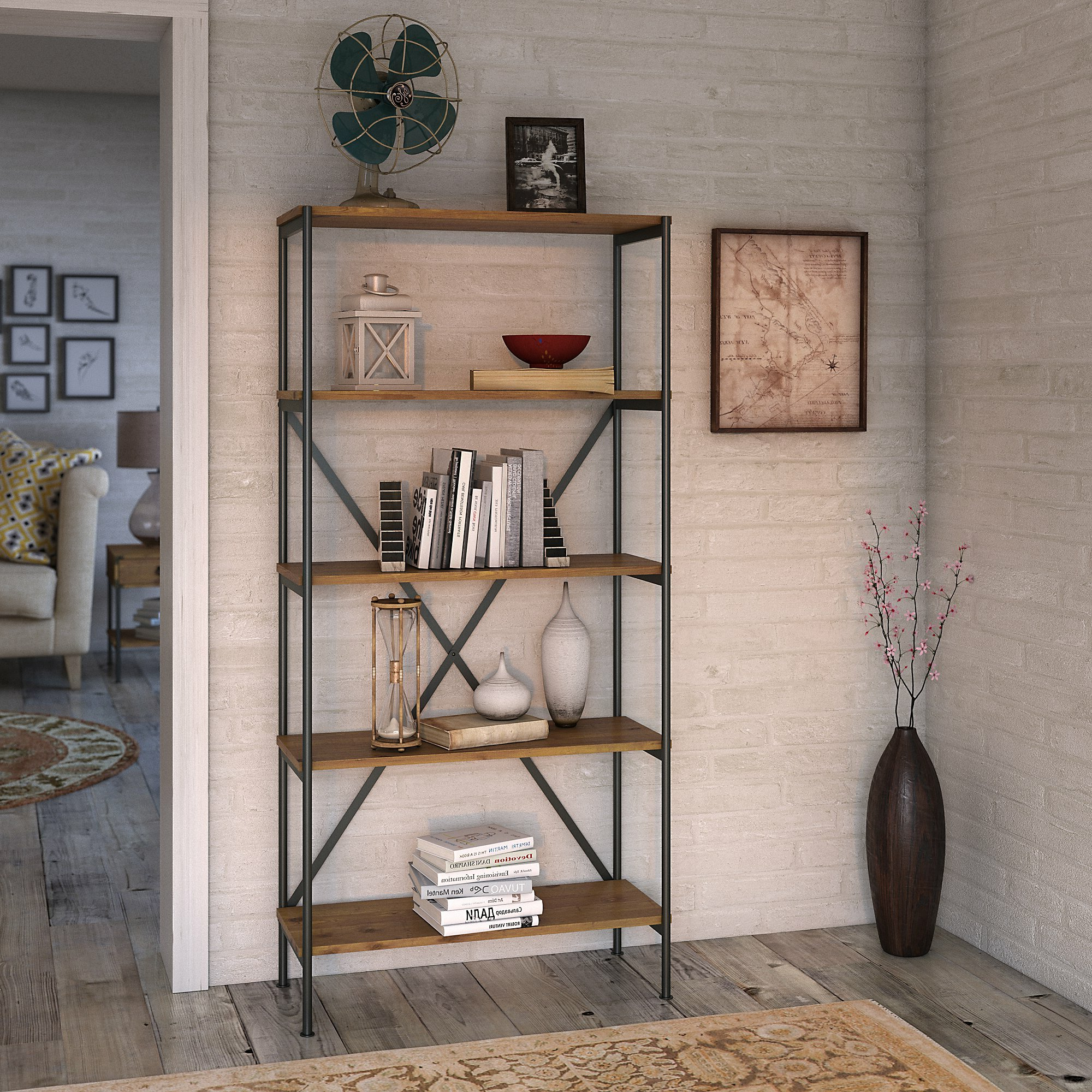 Ironworks 5 Shelf Etagere Bookcase Inside Fashionable Beckwith Etagere Bookcases (Gallery 8 of 20)