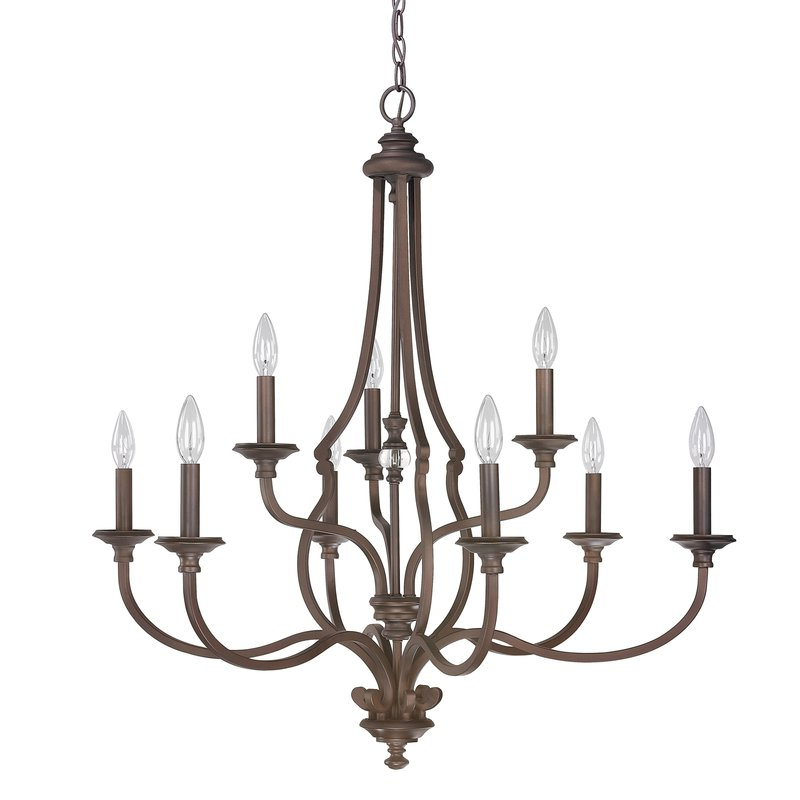Jaclyn 9 Light Candle Style Chandelier Intended For Current Berger 5 Light Candle Style Chandeliers (View 13 of 25)