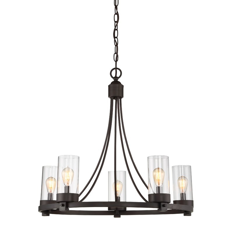 Featured Photo of Janette 5 Light Wagon Wheel Chandeliers