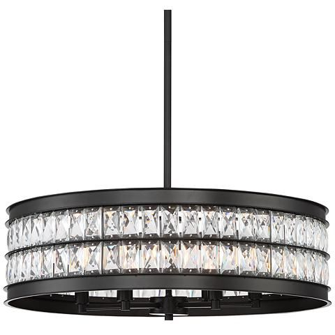 Jaylen 23 1 2W Oil Rubbed Bronze And Crystal Pendant Light In Favorite Albano 4 Light Crystal Chandeliers (View 22 of 25)