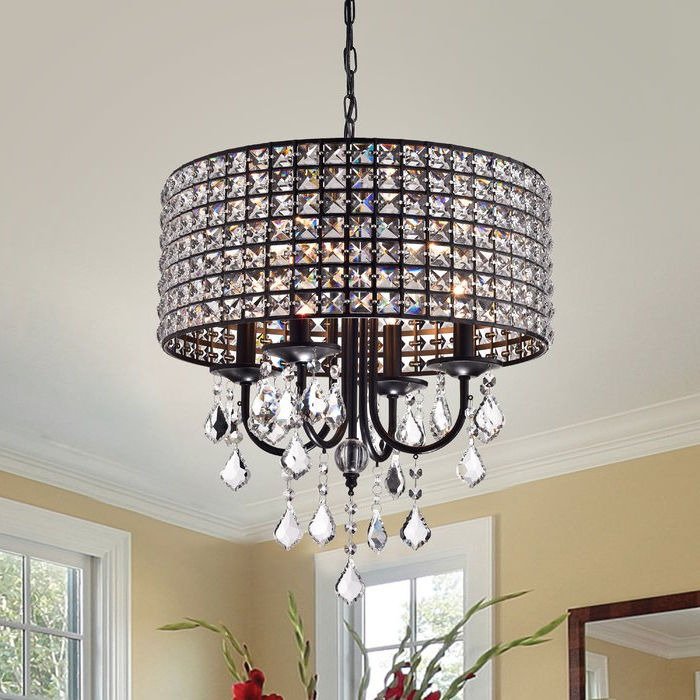 Jill 4 Light Drum Chandeliers With Regard To 2017 Albano 4 Light Crystal Chandelier (Gallery 7 of 25)